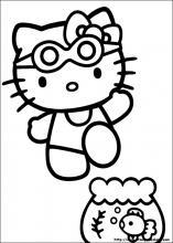 disegni da colorare hello kitty al mare
