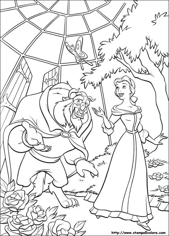 Disegni di La Bella e la Bestia da colorare